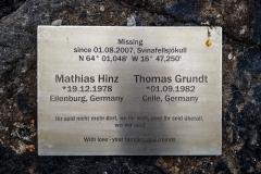 Svinafellsjökull Gedenktafel